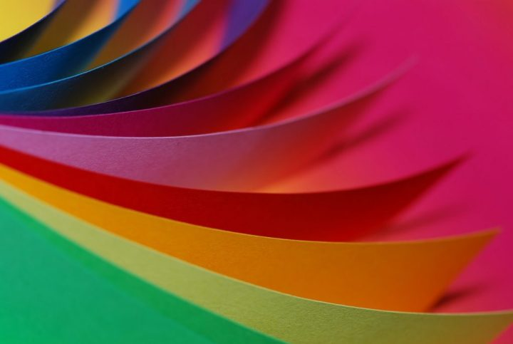 Rainbow of colored paper